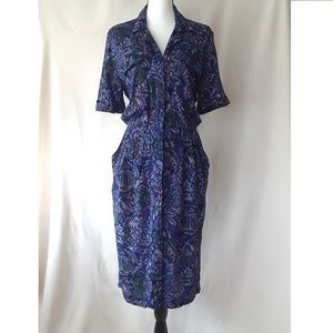 Vintage 80's Purple Tapestry Dress with Pockets